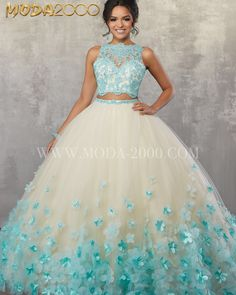 2 piece aqua / champagne quinceañera dress✨ Available at Moda 2000. Instagram: @moda2000inc