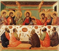 Page of Last Supper (scene by DUCCIO di Buoninsegna in the Web Gallery of Art, a searchable image collection and database of European painting, sculpture and architecture Oil Canvas, Canvas Prints, Framed Prints, Medieval Paintings, European Paintings, Nocturne, Duccio Di Buoninsegna, Holy Saturday, Les Religions