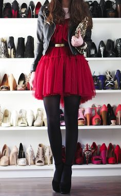 Red tulle dress. I'll take that shoe closet too.