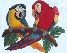 Metal Wall Art  Green Military Macaw Parrot  Hand Painted