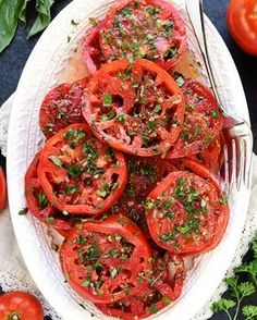The BEST Marinated Tomatoes ripe juicy tomatoes soak up olive oil red wine vinegar onion garlic fresh herbs in this zesty summer salad or versatile side dish Marinated Tomato Salad Recipe, Marinated Tomatoes, Grow Tomatoes, Fresh Tomato Recipes, Vegetable Recipes, Summer Salad Recipes, Summer Salads, Salad Dishes, Cooking Recipes