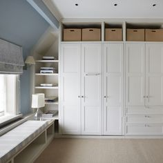 built-in wardrobe with many storage areas. #wardrobes