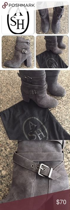 Ash suede/leather boots These grey leather and suede boots have never been worn! Wrap around buckles and chunky heel. Comes with Ash bag. NWOT Ash Shoes Heeled Boots