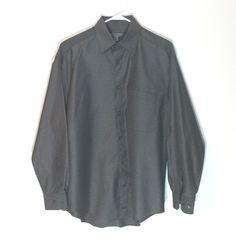 Johnston & Murphy Shirt Size Medium Men's Dark Gray 100% Cotton EUC  #JohnstonMurphy
