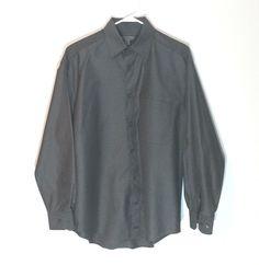 Johnston & Murphy Shirt Size Medium Men's Dark Gray 100% Cotton EUC  #JohnstonMurphy
