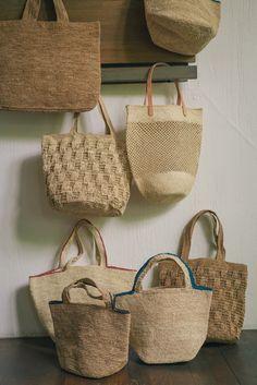 "jurgen-lehl-for-babaghuri: "" Raffia bags Madagascar ""Handmade in Africa"" From May to May At Isetan Babaghuri Photograph by Shuhei Tonami "" Crochet Tote, Crochet Handbags, Crochet Yarn, Knit Basket, Basket Bag, Jute Bags, Homemade Jewelry, Fabric Bags, Summer Bags"