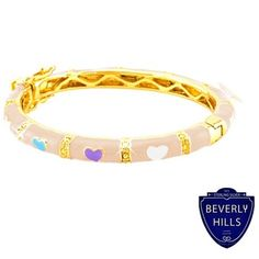18KT Gold Overlay Pink Enamel Hearts Baby Bangle $17.99, FREE SHIPPING!!! :)