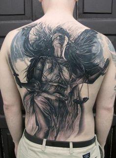 Back Fantasy Justice Angel Tattoo by Elvin Tattoo