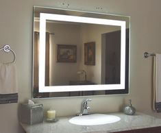 Mirrors and Marble™ brand commercial grade wall-mounted rectangular LED bathroom vanity makeup mirror, 40 inches wide, 32 inches tall. Bathroom Mirror Lights, Lighted Vanity Mirror, Makeup Mirror With Lights, Bathroom Light Fixtures, Bathroom Vanity Lighting, Diy Mirror, Vanity Mirrors, Wall Mirrors, Bathroom Vanities