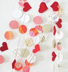 Girlande Papier Herzen