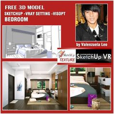 sketchup model bedroom vray setting and visopt. Sketchup Free, Sketchup Model, Vray Tutorials, Scene, Models, Texture, 3d, Architecture, Bedroom