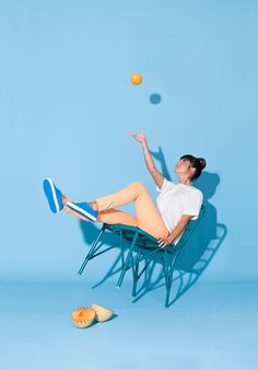 native shoes, blue, sports wear. chair, styling, product photo