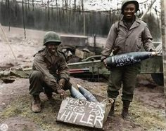 The only thing worse than being stuck in the middle of a bloody war is being stuck there during holidays. Pictured here are two members of the US Air force ground crew making the best of their Easter by painting personal greetings to Adolf Hitler... on AN-M65 1,000-lb (454 kgs) bombs. This photo was taken in Southern Italy, 1945.