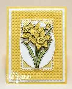 Our Daily Bread Designs Stamp Set: Daffodils, Custom Dies: Daffodil, Circle Scalloped Rectangles, Pierced Rectangles, Pierced Ovals, Lavish Layers, Paper Collection: Plum Pizzazz