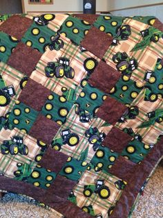 Baby boy John Deere quilt brown green yellow blocks hand quilted