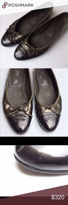 Authentic Chanel Patent Ballet Flats Size 38 1/2.very good condition. Scuff mark on left side near toe. Please see pictures for details. Let me know if you need more pictures. CHANEL Shoes Flats & Loafers
