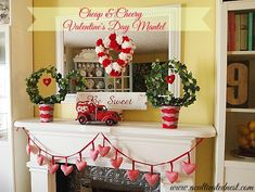 Cheap & Cheery Valentine's Day Mantel