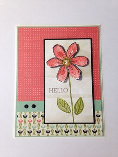 """hello"" card made with Pretty Petals DSP and Garden in Bloom SS"
