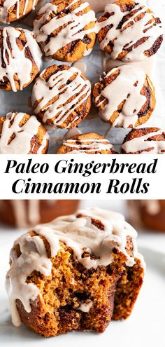 These paleo gingerbread cinnamon rolls are crisp on the outside, chewy inside with an irresistible flavor reminiscent of the holidays! They're quick and easy to make (baked in a muffin pan!) family approved and perfect as a special breakfast treat or snack! #paleo #glutenfree #cleaneating #cinnamonrolls