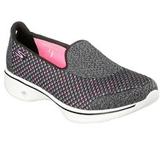 33fee2d208b22 Skechers Go Walk 4 Kindle Womens Slip On Walking Sneakers Black Hot Pink 13  W