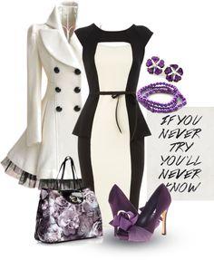 """Black/White & Purple"" by amo-iste on Polyvore"