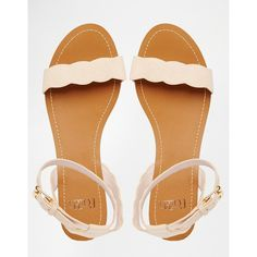 Faith Jem Nude Suede Scalloped Edge Flat Simple Sandals ($41) ❤ liked on Polyvore featuring shoes, sandals, suede shoes, open toe shoes, nude footwear, suede leather shoes and nude suede shoes