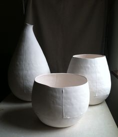 large porcelain pots by Asya Palatova, bisque stage