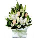 A pastel pretty arrangement of seasonal flowers presented fully self-contained in a box. Please note that this arangement contains fragrant lilies. For more information, please contact. Melbourne Florist, 89 Bridge Rd, Richmond, Victoria 3121, Phone: 03 9421 5558, www.melbourneflorist.com.au