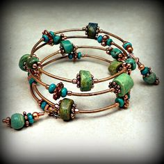 Memory Wire Wrap Bracelet With Copper And Turquoise Stone Beads Rings