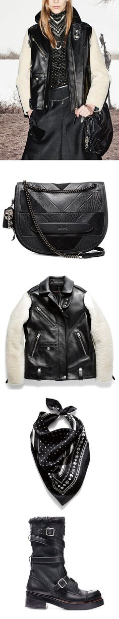 Shearling meets leather in this luxe look from Coach Women's Fall 2015. We've styled this outfit with a skull-print silk bandana scarf, a chain-strap patchwork bag and black moto boots with urban attitude.