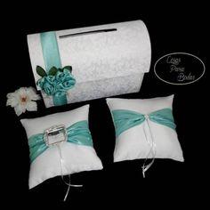 Co_100 Combo para #Bodas Blanco-Tiffany  Baul, Cojines