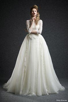 ersa atelier fall 2015 bridal leda wedding dress sleeves bateau neckline dotted tulle overskirt