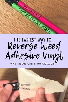 Reverse Weeding Adhesive Vinyl In this tutorial you will not only learn how to make adorable school supplies but also the trick to weeding small designs from your Silhouette or Cricut. Weeding Tips, Pencil Labels, Cricut Tutorials, Cricut Ideas, Vinyl Labels, Small Letters, Cricut Vinyl, Cricut Air, Silhouette Cameo Projects