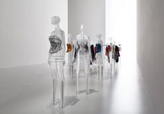 tokujin yoshioka has envisioned two mannequin typologies to display the fashion designer's clothing which stem from the idea of 'a piece of cloth' being transformed into a beautiful shape that is worn on the human body.