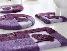 Purple Lavender Winter Blush Scroll Bath Rug Towels Accessory Set - Lavender bath towels for small bathroom ideas