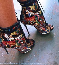"""Fabiana"" crystal decoration cross-tied stilettos mixed color"