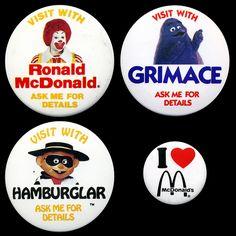McDonalds - McDonaldland - Character Appearance Pinback Buttons - Ronald, Grimace, Hamburglar - 1980's by JasonLiebig, via Flickr