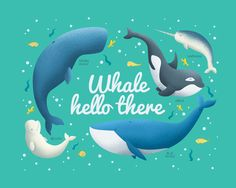 Another new illustration, whale hello there. Animals, whales, fish and sea