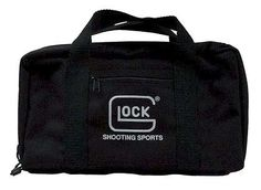 Glock OEM Range Bag (One Pistol) - http://www.airrifleforsale.com/glock/glock-oem-range-bag-one-pistol/ - Glock Black Nylon Pistol Range Bag Md: AP60211, A must have item for the serious Glock enthusiast, this heavy-duty pistol bag has room for your Glock pistol, ammunition. It is also constructed of DuPont ballistic nylon so it is built to last. These are a much more practical way for carrying you pistol around than the standard tupperware box that the Glock pistols come in