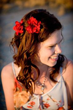 Red flower hair pin set of 4  Bridal hair flowers bobby