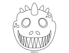 Elegant Printable Dinosaur Mask To Color