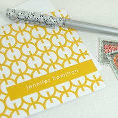 modern circles personalized note cards stationery set (8) -personalized stationary set. $13.00, via Etsy.