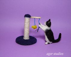OOAK 1:12 Dollhouse Miniature Cat Kitten Furred Realistic Kitty Animal Handmade