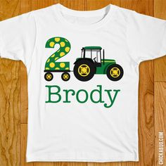 Tractor Party Iron-On (Shirt or Onesie). Make a custom birthday shirt with an easy to use personalized iron-on!