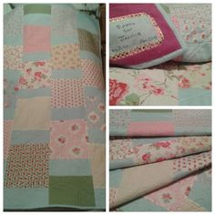 Simple quilt, vintage style fabrics and irregular chevron quilting for my little friend Jessica.