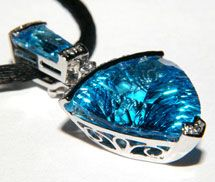 Bellarri Midnight Fantasy 18K White Gold Diamond and Blue Topaz Pendant