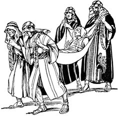 Four men carry their paralyzed friend on a mat to see Jesus (Matthew 9, Mark 2, Luke 5)