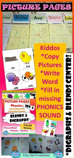 DIGRAPHS and BLENDS! PHONICS PROGRAM and CENTERS! This is AWESOME for Morning Work, Word Work, Centers, RTI. Kiddos LOVE these! *Copy Pictures *Write Words *Fill in Missing Sounds! Find MORE PICTURE PAGE SETS at Silly Sam Productions!