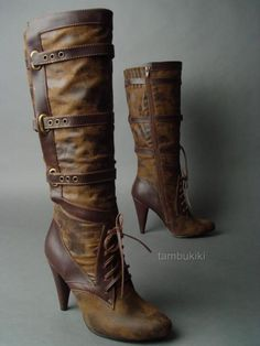 I found these steampunk aviator boots on eBay. I absolutely adore the distressed texture and Victorian style boot.