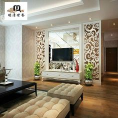 Room Partition Wall, Living Room Partition Design, Living Room Divider, Room Partition Designs, Modern Farmhouse Living Room Decor, Living Room Tv Unit Designs, Hall Interior, Living Room Background, Decoration